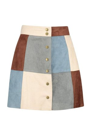 Blue and tan patch suede skirt