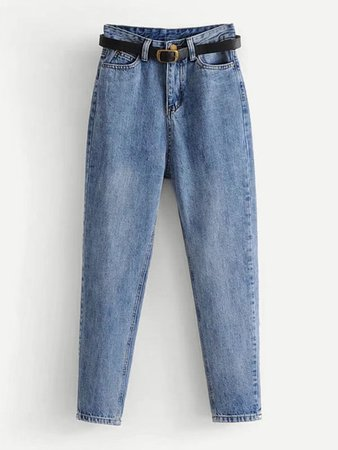 High Waist Jeans With Belt