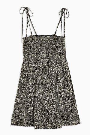 Stone Animal Print Shirred Flippy Dress | Topshop