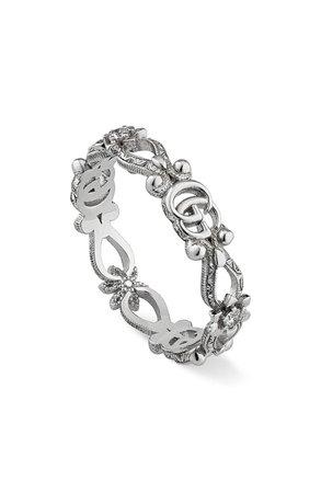Gucci 18K White Gold & Diamond Flora Ring | Nordstrom
