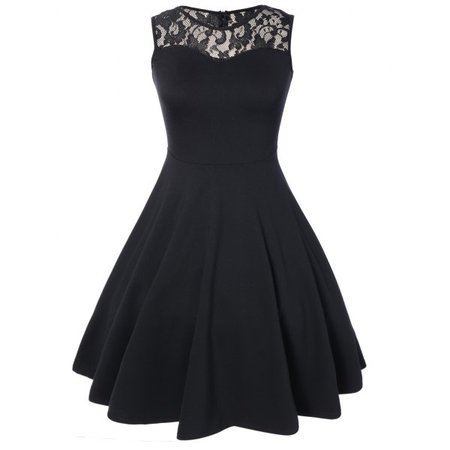 Wholesale Sleeveless Lace A Line Party Swing Skater Dress Xl Black Online. Cheap White Lace Sheath Dress And Lace Maxi Dress on Rosewholesale.com
