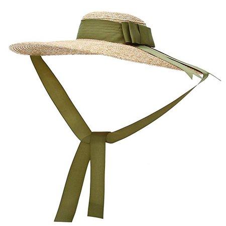 Vintage Straw Hat Women's Wide Brim Summer Beach Sun Hat w/Bowtie Ribbon Black at Amazon Women's Clothing store