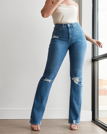 High Waisted Ripped Curvy Bootcut Jeans