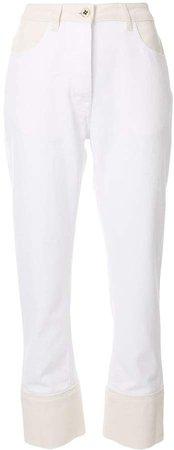 contrast-panel straight leg jeans