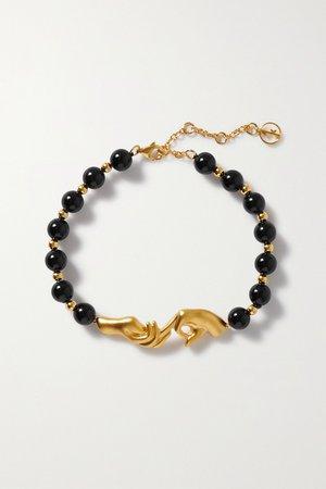 Gold Les Mains gold-plated onyx bracelet | Anissa Kermiche | NET-A-PORTER