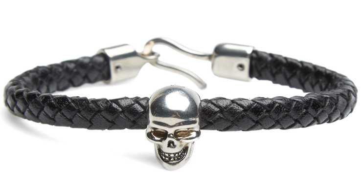 Alexander McQueen Skull Charm Woven Bracelet Black   IAMFATTERTHANYOU.COM