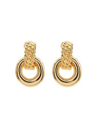 Kenneth Jay Lane Doorknocker gold-tone clip earrings