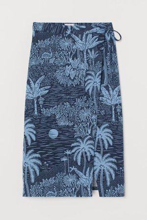 Linen-blend wrap skirt - Dark blue/Landscape - Ladies   H&M