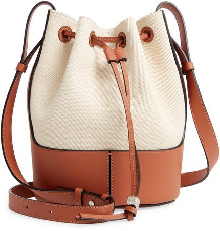 Small Balloon Woven Cotton & Leather Bucket Bag