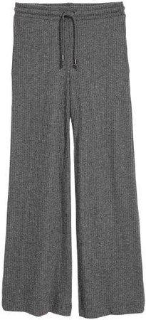 Rib-knit Pants - Gray