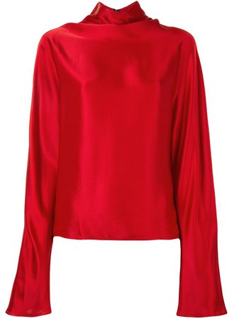 Red LAPOINTE high-neck satin blouse FW20267 - Farfetch