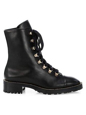 Stuart Weitzman Kolbie Leather Combat Boots | SaksFifthAvenue
