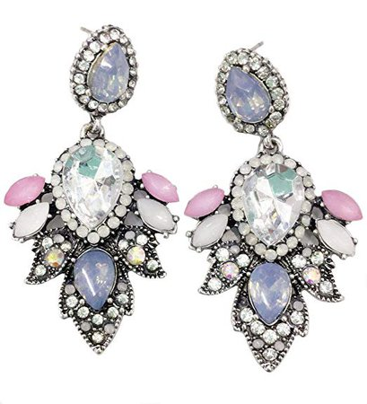 Amazon.com: Large Art Deco Antique Vintage Style Baby Blue Pink White Pastel Opals Bridal Bridesmaid Wedding Prom Pageant Statement Earrings: Jewelry
