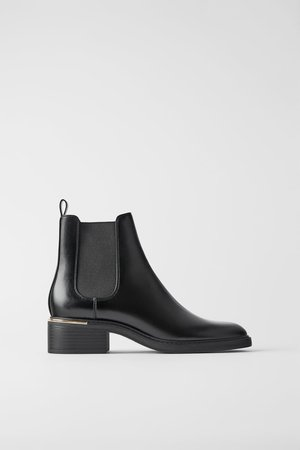 LOW HEELED ANKLE BOOTS WITH TRIM AT HEEL - BEST SELLERS-WOMAN | ZARA United States black