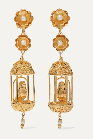 Gold Aviary gold vermeil pearl earrings | Of Rare Origin | NET-A-PORTER