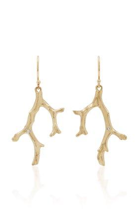 Coral Stick 14K Gold Diamond Earrings by Annette Ferdinandsen | Moda Operandi