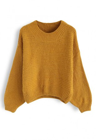Round Neck Fuzzy Knit Sweater in Mustard - NEW ARRIVALS - Retro, Indie and Unique Fashion