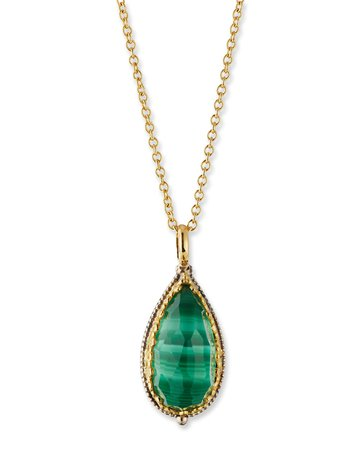 Konstantino Faceted Green Crystal Quartz Over Malachite Teardrop Pendant Necklace