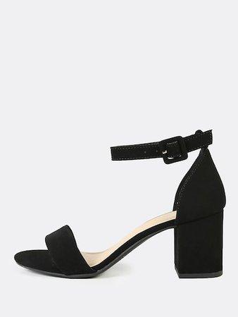 Nubuck Ankle Strap Low Heel Sandals   SHEIN