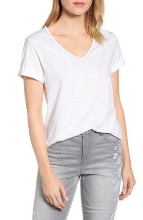 Wit & Wisdom Chain Trim V-Neck Tee (Nordstrom Exclusive) | Nordstrom