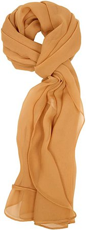 Love Lakeside Modern, Chiffon Silk Blend Solid Color Oblong Scarf (One, Camel) at Amazon Women's Clothing store