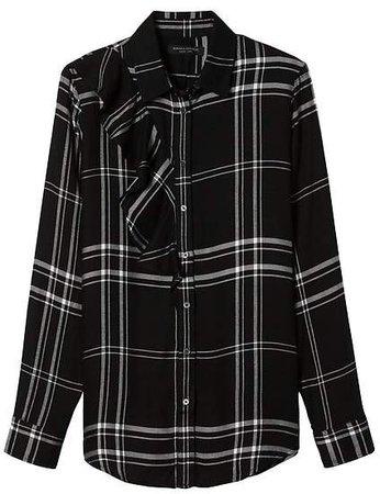 Dillon-Fit Plaid Ruffle Flannel Shirt