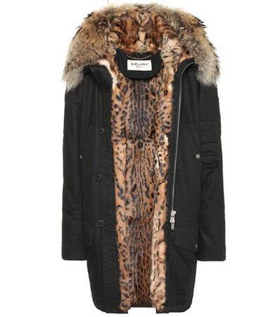 Fur-lined cotton-blend parka