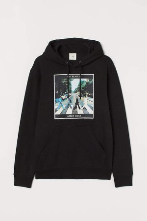 Printed Hooded Sweatshirt - Black