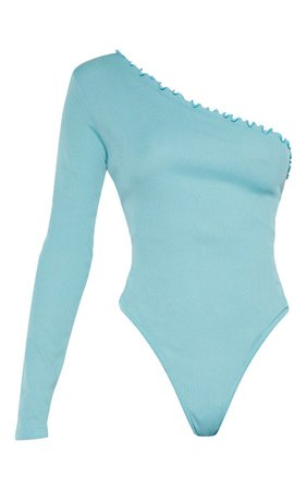 Dusty Turquoise Rib Frill One Shoulder Bodysuit | PrettyLittleThing