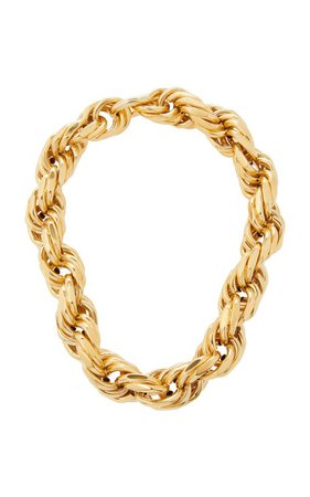 Gold-Plated Silver Woven Rope Necklace by Bottega Veneta | Moda Operandi