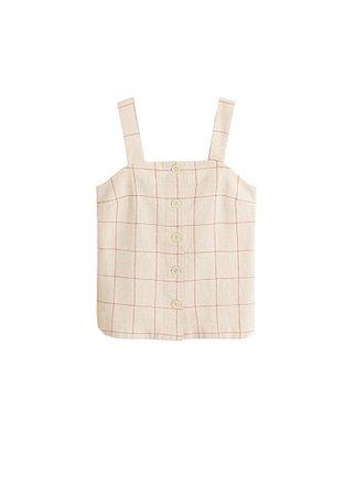 MANGO Check linen-blend top