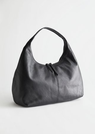 Slouchy Leather Tote Bag - Black - Totes - & Other Stories