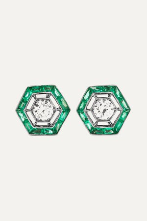 White gold Collection 18-karat white gold, emerald and diamond earrings   Fred Leighton   NET-A-PORTER