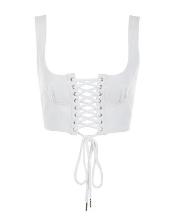 'ICE' White Corseted Lace Up Bralet
