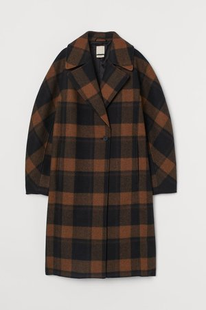Wool-blend Coat - Brown/black plaid - Ladies | H&M US
