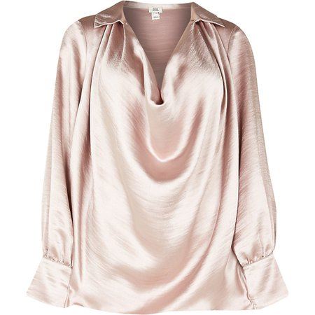 Pink cowl neck long sleeve blouse top | River Island