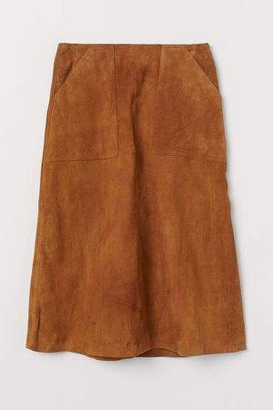 A-line Suede Skirt - Beige