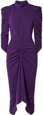 Tizy Ruched Crepe Midi Dress - Purple