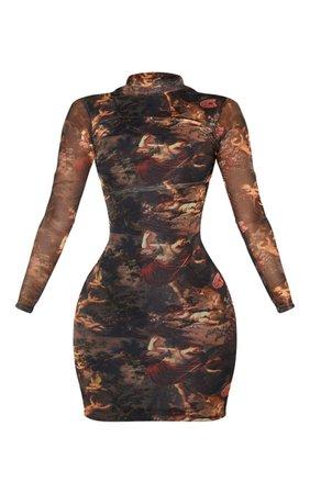 Shape Renaissance Print High Neck Mesh Dress   PrettyLittleThing USA