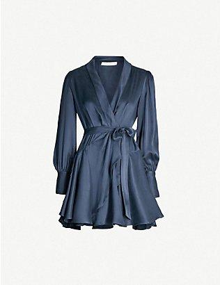 ZIMMERMANN - Wrap silk mini dress   Selfridges.com