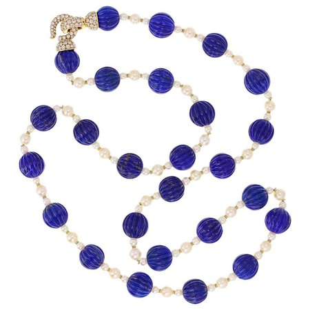 Cartier Paris Pearl Lapis Lazuli Diamond Gold Sautoir Necklace For Sale at 1stDibs