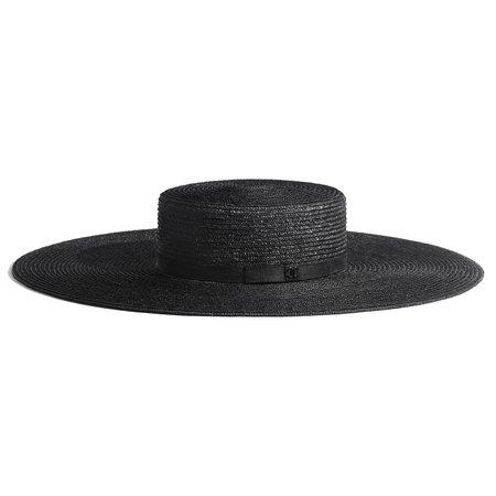 Straw & Silk Wide Brimmed Hat   CHANEL