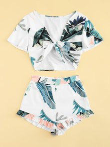 Tropical Tie Front Top With Ruffle Hem Shorts