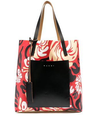 Marni abstract-print Logo Tote Bag - Farfetch