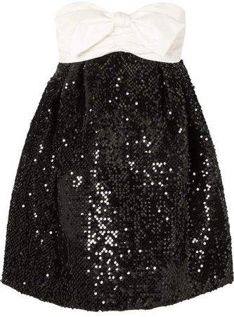 Strapless Bow-detailed Satin And Sequined Velvet Mini Dress - Black