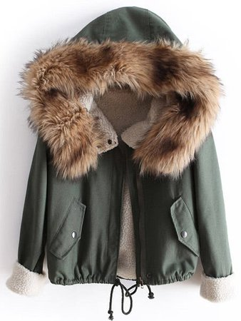 Faux Fur Hooded Quilted Drawstring Coat