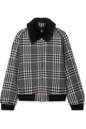 Max Mara | Faux fur-trimmed houndstooth wool-tweed bomber jacket | NET-A-PORTER.COM