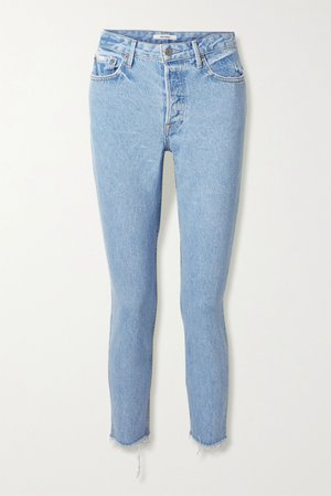 Light denim Karolina frayed high-rise skinny jeans | GRLFRND | NET-A-PORTER