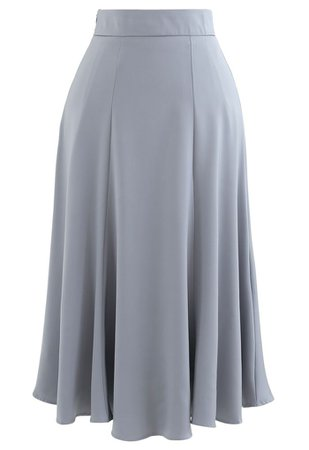 Satin A-Line Midi Skirt in Grey - Retro, Indie and Unique Fashion