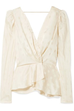 Johanna Ortiz | Pale Young Eyes wrap-effect satin-jacquard blouse | NET-A-PORTER.COM